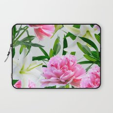Pink Peonies & White Lilies Laptop Sleeve