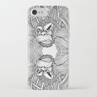 planet of the apes iPhone & iPod Cases featuring Rise of the Dawn of the Planet of the Psychedelic Apes by The Rural drawer by Inky Doodles