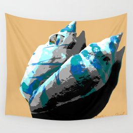 Electric Blue & Gray Shells on Sand Wall Tapestry