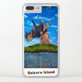 Island Head Unicorn Clear iPhone Case