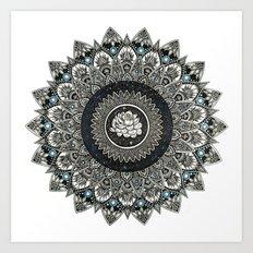 Black and White Flower Mandala with Blue Jewels Art Print