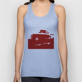 Fiat 500 classic, Dark Red on Cream Unisex Tank Top