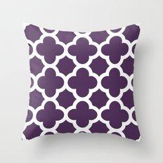 Plum Quatrefoil Throw Pillow