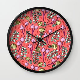 Floral on Coral Wall Clock