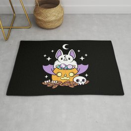 Pumpkin Bat // Black Rug
