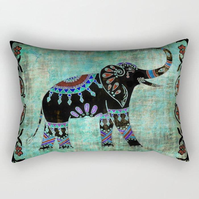 Decorated Elephant Rustic Floral Design Rectangular Pillow