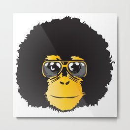 Monkey Retro Metal Print