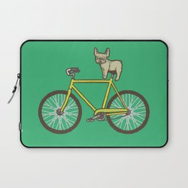 Frenchie on a Fixie Laptop Sleeve