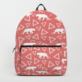 Wild African walking white lioness silhouettes and abstract triangle shapes. Stylish whimsical ethnic coral salmon red color retro vintage geometric animal nature pattern. Backpack