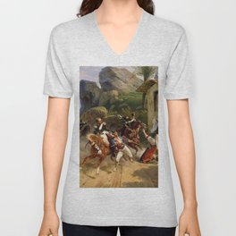 Classical Masterpiece Italian Brigands Surprised by Papal Troops by Horace Vernet Unisex V-Neck