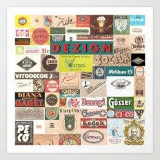 OLD LOGOS Collage Art Print
