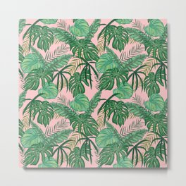 Tropical Green Leaves Foliage Nature Pattern Millennial Pink Background Metal Print