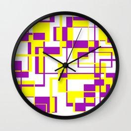 Purple and Yellow Bricks Wall Clock