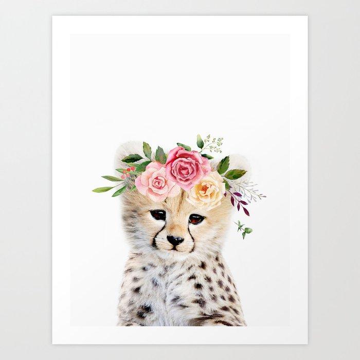 Baby Cheetah with Flower Crown Kunstdrucke