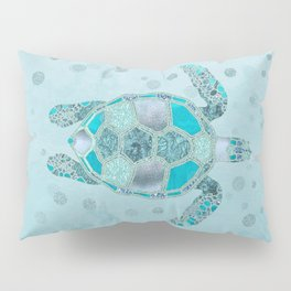 Glamour Aqua Turquoise Turtle Underwater Scenery Pillow Sham