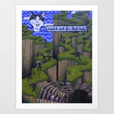 Watch out for that hole! Art Print