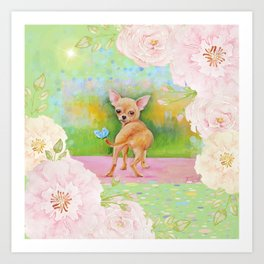 Chihuahua in the rose garden Art Print