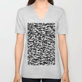Black and White Ocean Current Abstract Pattern Unisex V-Neck