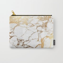Marble, white + gold veins Carry-All Pouch