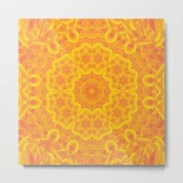 vibrant golden yellow mandala Metal Print