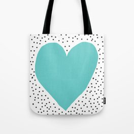 Turquoise heart with grey dots around Tote Bag