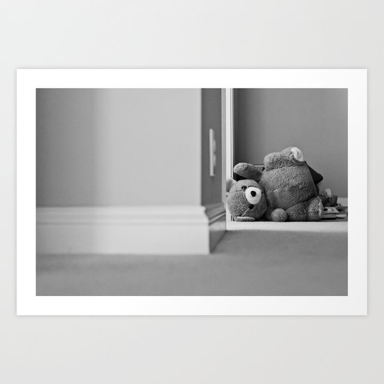 Teddy Bear Tipped Over Art Print