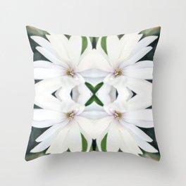 Art Nouveau White Flower Throw Pillow