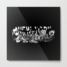 New York City Manhattan Skyline- abstract ink Metal Print