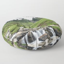 Mt. Rainier, Edith Creek, Scenic Landscape, National Park Floor Pillow