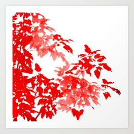 Red Leave Silhouette Art Print