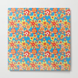 Ditsy Orange Flowers on Blue Metal Print