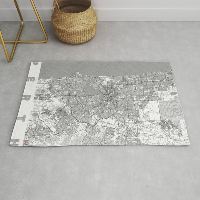 Perth Map Line Rug By Hubertroguski