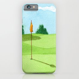 Golf Course Putting Green Watercolor Painting iPhone Case