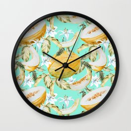 Melons with tropical flowers Wall Clock