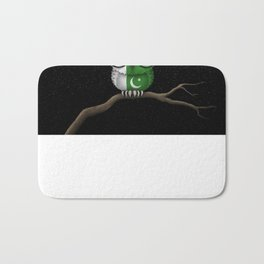 Baby Owl with Glasses and Pakistani Flag Bath Mat