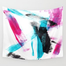 Modern hand painted pink turquoise black brushstrokes acrylic paint Wall Tapestry