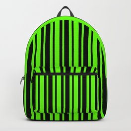 Bright Green and Black Vertical Var Size Stripes Backpack