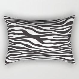 Animal Print, Zebra Stripes - Black White Rectangular Pillow