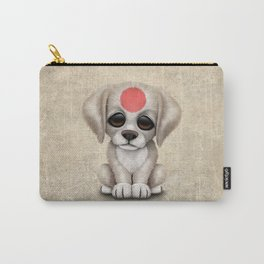 Cute Puppy Dog with flag of Japan Carry-All Pouch