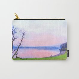 Calm Pink Sunset over Lake Windermere, Lake District, England Watercolor Painting Carry-All Pouch