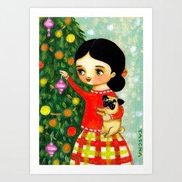 Pug Christmas Tree sweet painting by Tascha Art Print