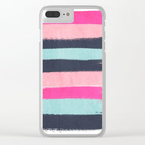 Miri - abstract stripes painterly brushstrokes minimal office dorm or college girly art decor Clear iPhone Case