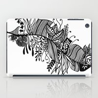 banana leaf iPad Cases featuring Banana Leaf Black & White Doodle Art by martywoodskk