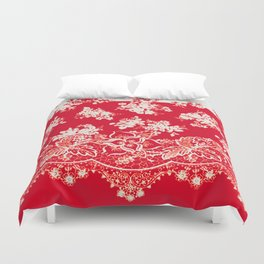 small bouquets in bright red with border Duvet Cover