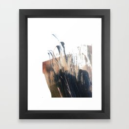 Clarity: a pretty, minimal abstract in rose gold and deep blue Framed Art Print