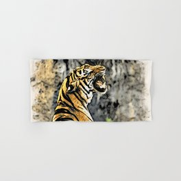 Tiger roar Woodblock Style Hand & Bath Towel