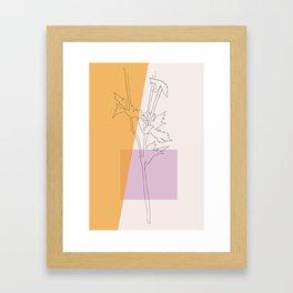 Thistle Retro Botanical Line Drawing Framed Art Print