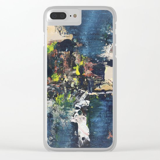 Peacock Blue Abstract Painting Vibrant Modern Art Clear iPhone Case