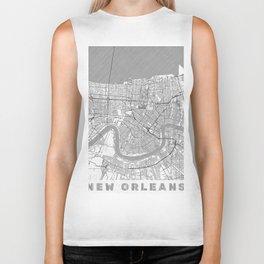 New Orleans Map Line Biker Tank