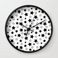 house stark Wall Clocks featuring Stark Stars by SonyaDeHart